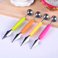 dondurma kazı toptan satış-Renkli Mutfak gadgets Çift başlı meyve topu kaşık mutfak paslanmaz çelik karpuz dondurma kazma kazdık kazma meyve oyma bıçak