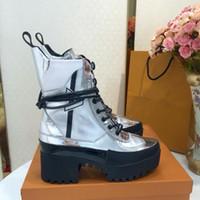 cargadores calientes de la manera del invierno de las mujeres al por mayor-2017 caliente de lujo de la manera del tobillo de las mujeres botas de plataforma de cuero de vaca de invierno de las señoras 5 cm tacones altos zapatos casuales botines envío gratis