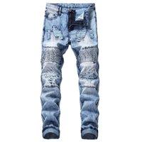jeans rotos parcheados para hombre al por mayor-MORUANCLE para hombre de moda jeans rotos motocicleta pantalones Patched Lamentando motorista de mezclilla pantalones para Tamaño masculino remiendo 28-40
