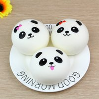 Wholesale random key - Free Shipping Cute 4cm Panda Squishy Kawaii Buns Bread Charms Bag Key Cell Phone Straps Pair Random Soft Panda Squishy Bread Semll 100pcs