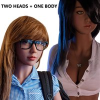 Wholesale Life Size Head Sex Toy - 2 Heads + 1 Body Full Silicone Sex Doll Lifelike Oral Anal Vagina Sex Toy for Men Solid Skeleton Sex love dolls for men