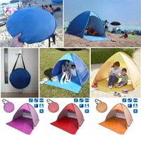 Wholesale instant tent person resale online - Outdoor Quick Automatic Opening Tents Instant Portable Beach Tent Beach Tent Beach Shelter Hiking Camping Family Stripe Tents For Person