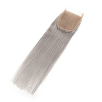 Wholesale silver blonde hair for sale - Group buy Silver Grey Color Straight Lace Closure with Baby Hair Bleached Knots Remy Human Hair x4 Lace Closures