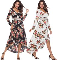 2018 Autumn Sexy V Lead Flora Printing Long Fund Dress Promotion clothing  ladies casual dresses for women clothes 3d4dd39a1