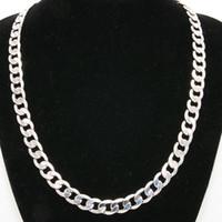 ingrosso stili di catena in oro bianco-10mm Wide Solid Curb catena 18K oro bianco riempito in stile classico lucidato collana uomo gioielli 24 pollici