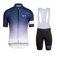 Wholesale bike jerseys kits online - 2018 Rapha new summer mountain bike short sleeved cycling jersey kit breathable quick dry men and women riding shirts bib shorts set A2611