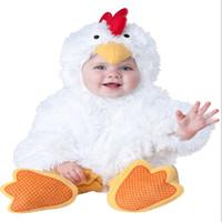 menino pequeno da foto venda por atacado-Frango branco Cosplay Romper para Little Baby Animal Halloween Trajes Cosplay Foto Roupas Adereços Aves Macacão para o Menino menina