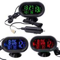 Wholesale auto alert for sale - Group buy DC12V V in Time Date Dual Temperature Auto Digital Car Thermometer Voltage Meter Monitor Luminous Clock Freeze Alert