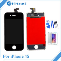 Wholesale Iphone 4s Assembly - 1 Pcs Free Shipping Grade AAA+++ Quality For iPhone 4s LCD display Touch Screen Digitizer Assembly Replacement With Tools
