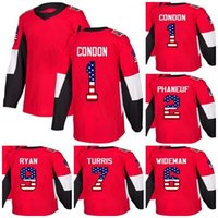 Custom Mens Momens Kids Ottawa Senators 1 Mike Condon 2 Dion Phaneuf 6  Chris Wideman 7 Kyle Turris 9 Bobby Ryan USA Flag Ice Hockey Jerseys bc4e17c61