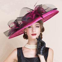 e42d7355458 Purple Red elegant beach hat women linen wide brim wedding hat sombrero lady  chapeau femme fedora top kentucky derby hat church cosplay caps