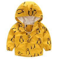kinder gelb winterjacke großhandel-Baby-Mädchen-Kind scherzt gelben sonnigen Pinguin-Tiermit kapuze Mantel-Jacken-Windjacke-Oberbekleidung-Herbst-Kleidungs-Mäntel