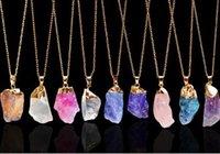 настоящее ожерелье с капюшоном оптовых-Капли воды ожерелье реальный природный камень ожерелье фиолетовый желтый кристалл женщины ожерелье 2018 Мода GA154