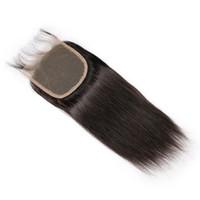 ingrosso texture dei capelli brasiliani-Pizzo Chiusura 5 * 5 Struttura diritta Nodi sbiancati Acconciature vergini brasiliane per capelli umani con tre parti libere