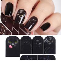 wasserübertragung nail art großhandel-Mysteriöse schwarze Katze Nagel Wasser Aufkleber Nail Art Maniküre Transfer Aufkleber Nail Sticker Tattoo Decals Wasserrutsche Dekoration