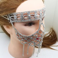 Wholesale full face metal masks for sale - Group buy Metal Elegant Diamond Mask Artificial Crystal DIY Hallowma Venetian Mask Sexy Half Face Party Dance Mask Masquerade Decoration