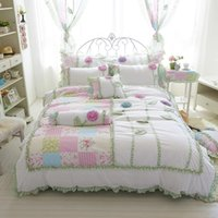 Wholesale 3d bedding set single for sale - 4 cotton flowers d korean Bedding set white color king queen twin size girls single bed set duvet cover bed sheet set