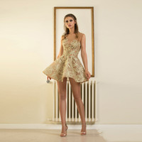 Wholesale Mini Sexy Summer Robes - Fashion Gold Lace Mini Cocktail Dresses Sexy Backless Short Formal Party Dress For Graduation Appliques Robe Cocktail Sheer Neck
