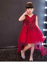 Wholesale Trailing Flowers - 2017 Appliques Red Tulle Flower Girl Dress Long Trailing Princess Ball Gown Party Wedding Dress First Communion Dresses for Girl