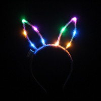 Wholesale Led Bunny Ears - Kids Adults Bunny Ears LED Flashing Glow Headband Hairband Women Bar KTV Nightclub Dress Decor Glow Party Supplies QW7102