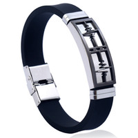 Wholesale chain pattern for men for sale - Group buy PINKSEE High grade Stainless Steel Bracelets For Men Electrocardiogram Pattern Black Color Silicone Cool Jewelry Findings