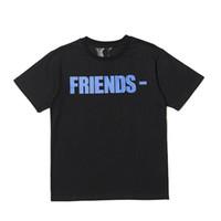 gömlek için en iyi pamuk toptan satış-En İyi Sürüm Vlone ARKADAŞLAR Baskılı Kadın Erkek T Shirt tees Hiphop Streetwear Mavi Arkadaşlar Vlone Pamuk Kısa Kollu Erkek T Shirt