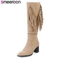 talla 33 mujer tacones al por mayor-Smeeroon 2018 nuevos tacones altos con cremallera hasta la rodilla botas de otoño botas de invierno punta redonda mujeres zapatos de fiesta de gran tamaño 33-43