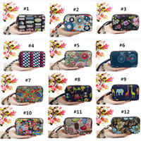 Wholesale canvas floral pencil pouch resale online - Washable Smartphone Wristlets Bag Clutch Wallets Change Purse Pencil Bag Cosmetic Bag Pouch Coin Purse Zipper Change Holder With Strap
