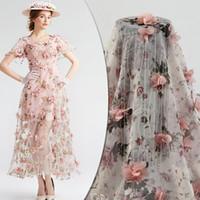 blumendruckmaschine großhandel-3D Blume bestickt Chiffon Floral Kinderkleidung Seidenband Rosa Kleid Print Stoff Bekleidungszubehör