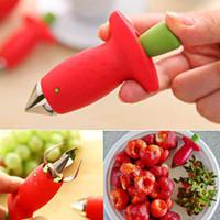 tiges de fraises en plastique achat en gros de-Fraise Corer Tige Huller Métal Tomate Tiges En Plastique Fruit Feuille Couteau Tige Remover Gadget Cuisine Outil