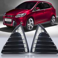 luzes de nevoeiro ford led venda por atacado-Luzes de circulação diurna do diodo emissor de luz DRL do carro com desligar e caso da função do redutor para 2012 Ford Focus 3, luz de névoa
