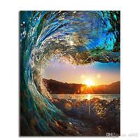 okyanus yağlı boya toptan satış-Akrilik Yağlıboya Vintage Renk Wonderland Okyanus Horizon Sunrise DIY El Boyalı Keten Kumaş Çerçevesiz Resim Sergisi 12 48ls bb