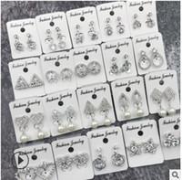 ingrosso orecchino in orecchino trafitto-New Designer Flower Pearl Shape Stunning Cubic Zirconia cristallo donne orecchio clip su orecchini senza piercing