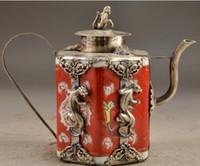 ingrosso vasi da giardino cinesi-+ Porcellana in rame cinese da collezione lavoro manuale vecchia scultura Leopard Tea Pot decorazione del giardino 100% reale tibetano