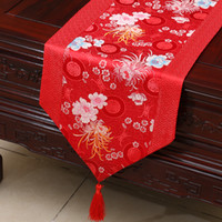 мягкие скатерти оптовых-Decorative Floral Silk Coffee Table Runner  Patchwork Dining Table Mat Pads Chinese Tablecloths for Party