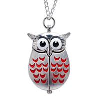 ingrosso collana orologio da gufo di quarzo-Orologio da tasca Vintage Mini Wing Quartz Owl Pocket Watch Collana con catena regalo per uomo donna