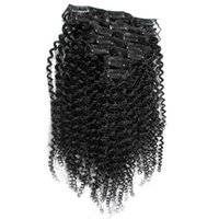 Wholesale american hair extensions resale online - 7pcs Mongolian Afro Kinky Curly Clip Ins Human Hair G African American Afro Kinky Hair Clip In Extensions quot quot quot quot quot quot