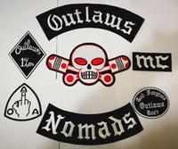 patchs de motards brodés achat en gros de-Plus tard Outlaws Patches Brodé Fer sur Biker Nomades Patches pour la veste de moto Gilet Patch Old HAMC Outlaws Patch badges autocollant
