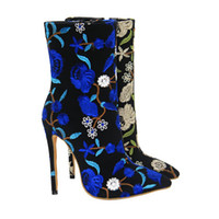 Wholesale new sweet boots for sale - Kolnoo New Flower Designed Handmade Ladies High Heel Half Boots Flora Deco Pointy Sweet Countryside Style Fashion Party Prom Shoes X1718