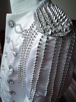 ropa de talla más al por mayor-Trajes de desgaste de la etapa de talla grande traje de chaqueta para hombre negro y plata Disfraz de Dj ropa delgada trajes masculinos negro blanco Color