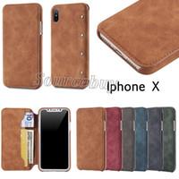 flip flip achat en gros de-Haute qualité portefeuille en cuir Flip Case pour iPhone X PU couverture Simple mode carte Pocket Téléphone portable Cases pour Apple iphone X 10