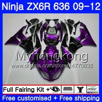ingrosso kawasaki ninja zx 11-Corpo + serbatoio per KAWASAKI NINJA ZX636 ZX-6R 2009 2010 2011 2012 208HM.40ZX 636 ZX 6R 600CC ZX-636 ZX6R Nero porpora scuro 09 10 11 12 Carenature