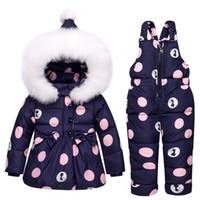 детские зимние пальто оптовых-Зима новорожденных девочек одежда устанавливает теплые дети пуховики дети Snowsuit детские лыжный костюм девушки пуховики верхняя одежда пальто + брюки