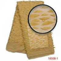 ingrosso appliques da tessuto da sposa-Ultimo colore giallo tessuto africano del merletto 3D applique con perline pizzo per matrimonio grazia abito da sposa in tulle tessuto di pizzo AMY1850B-1