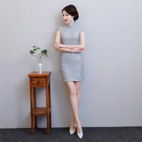 robes de soie artificielles achat en gros de-Shanghai Story 2018 Faux soie soie robe orientale chinoise vêtements pour femmes chinoise courte cheongsam dentelle qipao gris