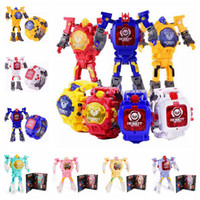 Wholesale electronic toy robots - 8 Designs Deformation Figure Robots Watch Electronic Deformation Watch Toy For Children Kids Party Favor AAA335