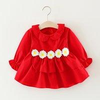 yeni doğmuş elbiseler toptan satış-2017 yeni Sonbahar Çiçekler bebek kız elbise Yeni Doğan Uzun kollu Bebek Elbise Kız Bebek Giysileri 0-24 M