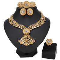 schwanz armband großhandel-Hochwertige afrikanische Schmuck-Set relativ leichtes Design, Fischschwanz Nigeria Braut Hochzeit Halskette Ohrring Armband Set
