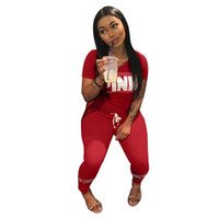 Wholesale Love Pink Shorts L - Love Pink Women Sports Suits Pink Printed T-shirts+Trousers Casual Tops Tees Long Pants VS 2 Piece Outfits Outwear Tracksuit Sweatsuit Best