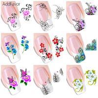 klebe nagelfolie großhandel-AddFavor 50Pc Nail Sticker Fingernagel Design Aufkleber Schmetterling Blume Nagel Aufkleber Floral Dekoration DIY Kunst Klebefolien